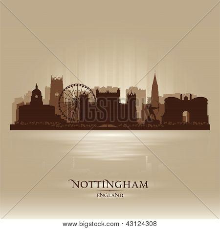 Nottingham England Skyline City Silhouette