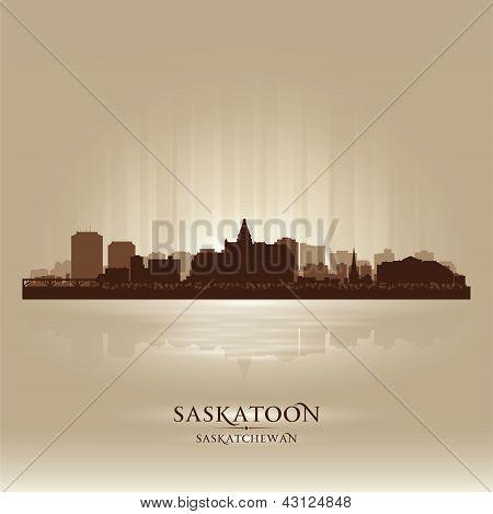Silueta de la ciudad de Saskatoon Saskatchewan Skyline