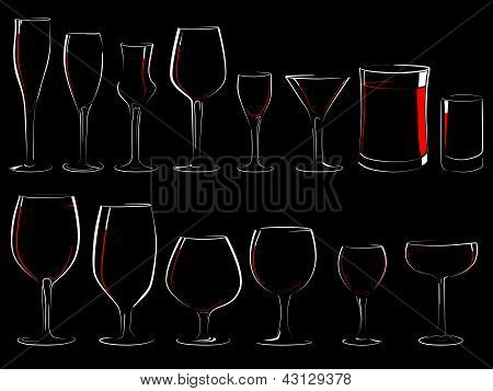 Set Of Vector Stemware In The Dark.