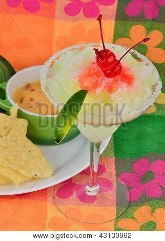 Margarita With Spicy Cheese Dip