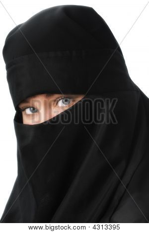 Beautiful Blue Eyed Woman In Black Muslim Niqab Veil