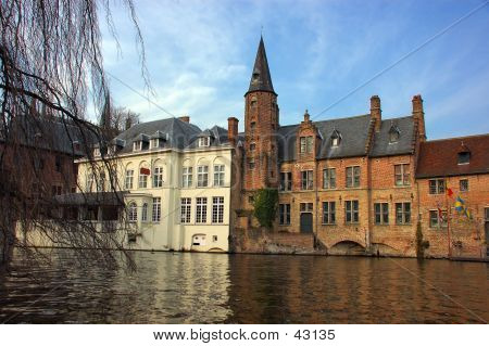 Bruges, Brugge, A View From The Canal.