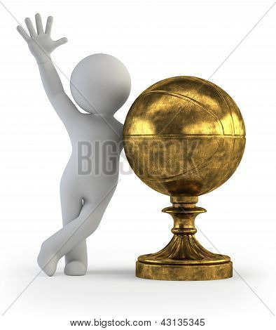 3D Small People - Basketball Trophy Cup