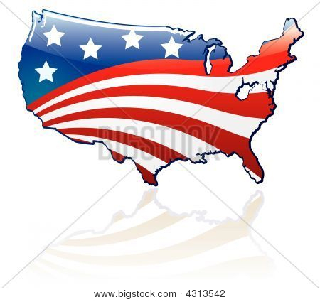Glossy Usa Flag And Map