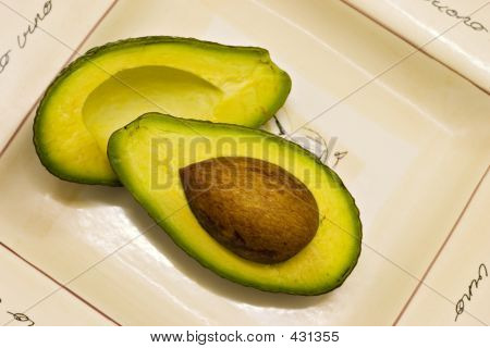 Avocado Halves On Plate