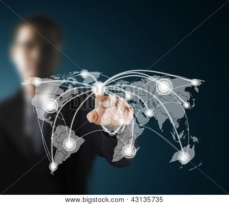 Business men hand pushing social network structure