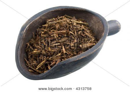 Cucharada de completa hoja suelta asado té verde japonés