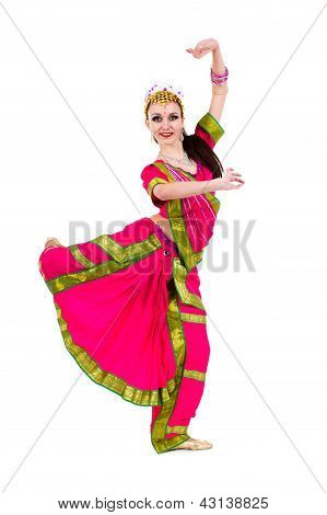 full length portrait of indian woman dancing