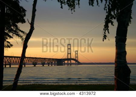 Orange Sunset And Bridge