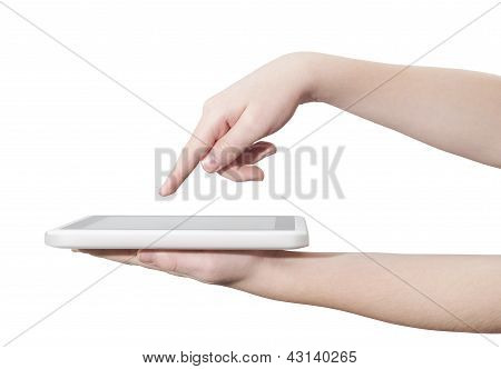 Finger touching screen