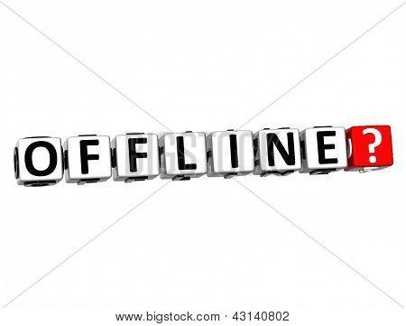 Botão 3D Offline clique aqui bloco de texto