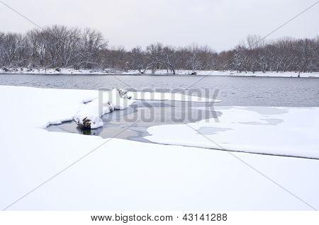 Winter On Mississippi River At Kaposia Landing