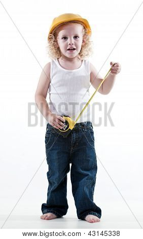 Cute Blond Jewish Toddler Boy Playing Pretend