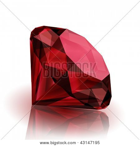 Realistic ruby on white background with reflection - eps10
