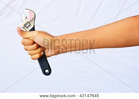 Asian Woman Hand Hold The Adjustable Wrench