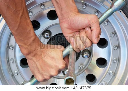 The Strong Hand Try To Remove The Nut Of Wheel