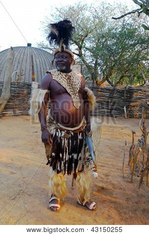 Zulu Chief  in Shakaland Zulu Village, South Africa