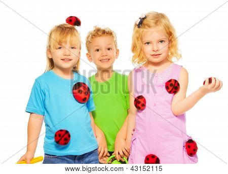 Three Kids Celebrating Spring