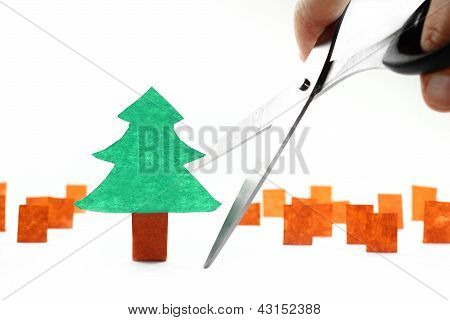 Ecology Concept: Cutting The Last Tree