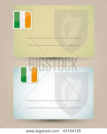 business card with flag and coat of arms of Ireland