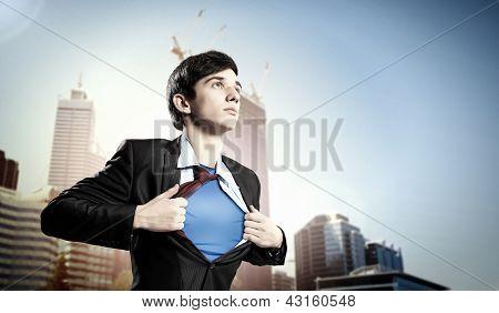Empresário jovem super-herói