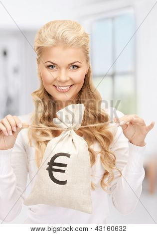 picture of woman with euro signed bag