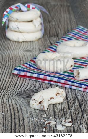 Meringue Cookies With Almonds And Chocolate