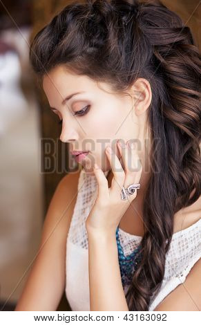 Relax. Portrait Of Daydreaming Classy Meek Girl. Refinement