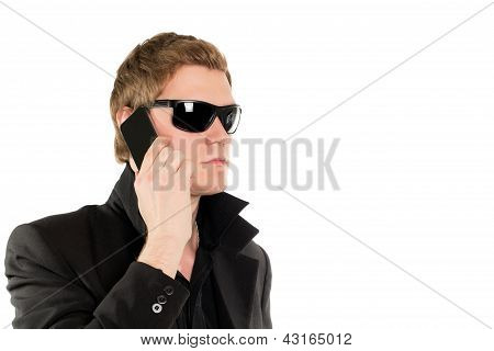 Man In Black With A Phone