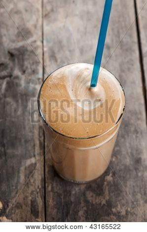 Cold Frappe Drink On A Wooden Table