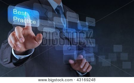 Businessman Hand Shows Best Practice Word On Virtual Screen