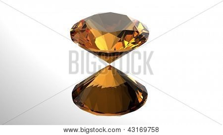 Jewelry gems roung shape on white background. Citrine