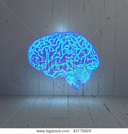 Illuminated bluelight   brain in a stylish background
