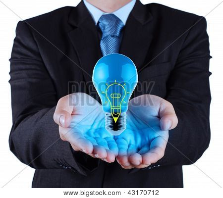 Businessman Hand Shows Pen Light Bulb On Touch Screen