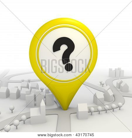 Black  question mark inside a yellow map pointer
