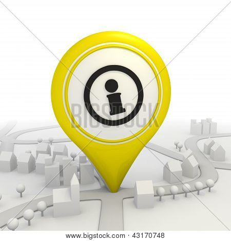 Stylish information pictogram   inside a yellow map pointer