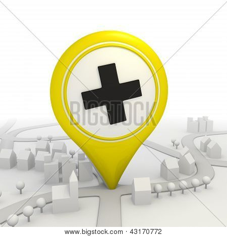 Stylish cross pictorgram inside a yellow map pointer