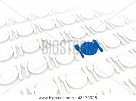 Restaurant icon in a stylish white background