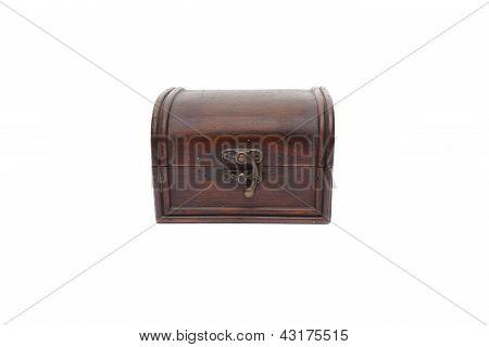 Secret Wooden Box Isolated On White Background