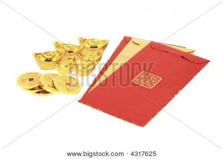 Chinese New Year Red Packets And Gold Ingots