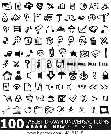100 hand drawn web universal icons | vector black icon set isolated on white