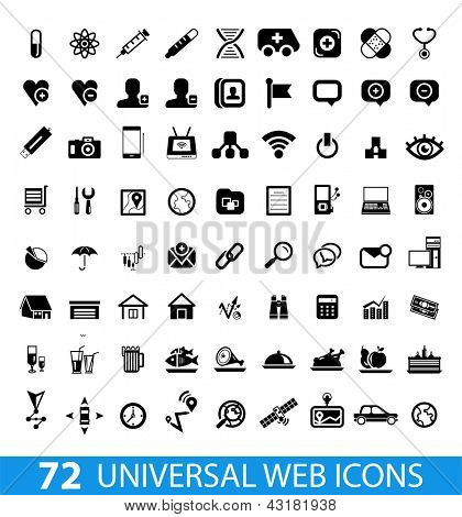 Set of 72 universal web icons isolated on white