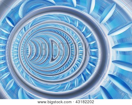 Conceptual 3D abstract perspective render of a futuristic curve tunnel or tube background
