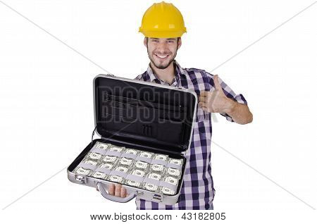Construction worker full of cash