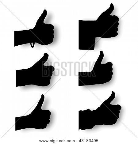 Vector set silhouette hands thump up,