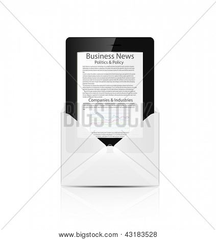 Realistic tablet pc computer with business news in white envelope isolated on white background.Vector illustration.