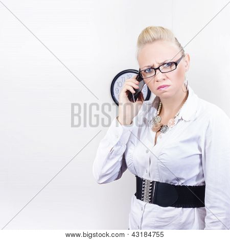 Furious Office Worker Holding Mobile Phone