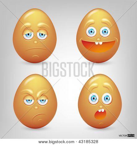 Vector illustration set of eggs emoticons.