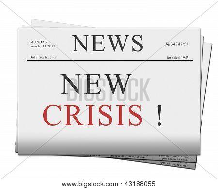 Ausgabe der Zeitung mit Krise news