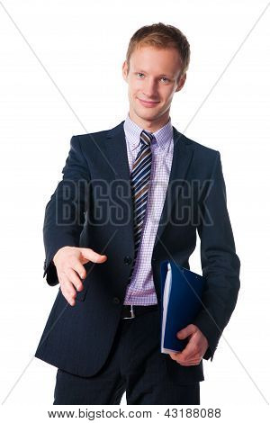 Portrait Of A Young Man Offering A Hand Shake